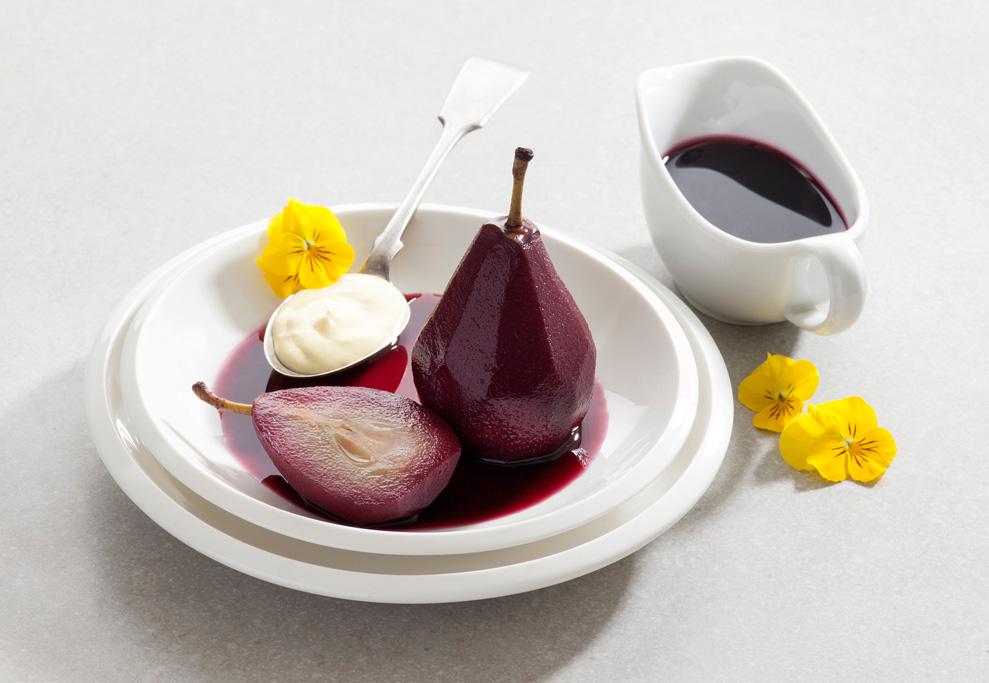 אגסים ביין אדום ומעדן תות שדה עם זביונה מעדן תפוז